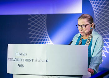 Justice Ruth Bader Ginsburg gives her acceptance speech for the inaugural Genesis Lifetime Achievement Award at a ceremony in Tel Aviv