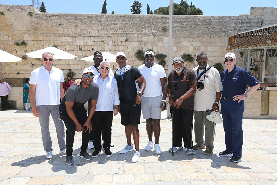 2019 Genesis Prize Laureate Robert Kraft and American Football Hall of Famers during a trip to Israel